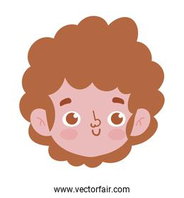 happy young face boy curly hair isolated icon white background