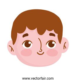 happy young face boy cartoon isolated icon white background