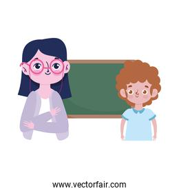 happy teachers day, teacher and boy student chalkboard