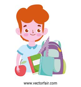 happy teachers day, student boy backpack books and apple