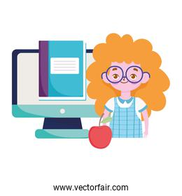 happy teachers day, student girl online education computer book and apple over white