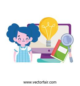student girl computer book magnifier and bulb idea