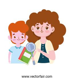 happy teachers day, teacher and student boy book and magnifier cartoon over white