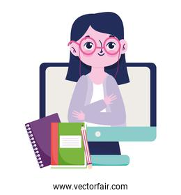 happy teachers day, teacher online lesson book notebook and pencil
