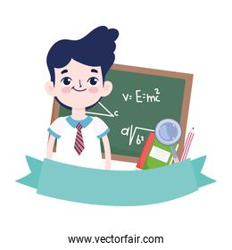 smiling  student boy blackboard book and magnifier cartoon