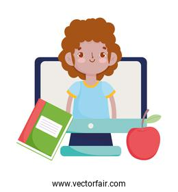 happy teachers day, student boy in video computer apple and book