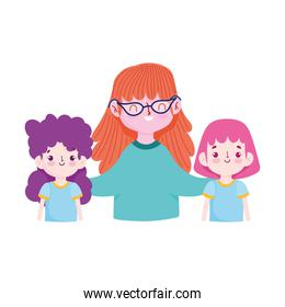 teacher and student girls isolated icon