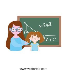 happy teachers day, teacher and student girl blackboard with lesson maths over white