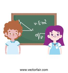 happy teachers day, cute students boy and girl with chalkboard