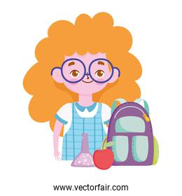 smiling student girl backpack apple and chemistry flask