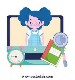happy teachers day, student girl online computer video clock book and magnifier