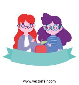 happy teachers day cartel, teacher and student girl with glasses and apple