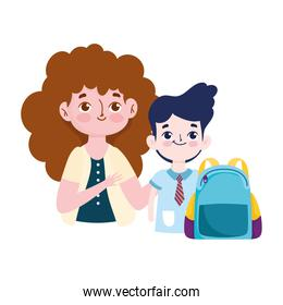 happy teachers day, smiling teacher and student boy with rucksack cartoon