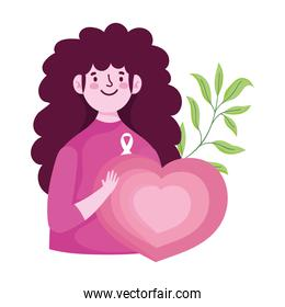 breast cancer awareness month, woman heart love leaf design