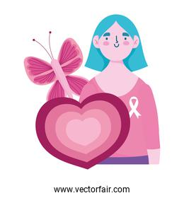 breast cancer awareness month, woman butterfly and heart cartoon