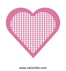 pink dotted heart love passion romantic isolated icon design