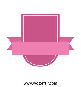 pink shield ribbon decoration ornament isolated icon design