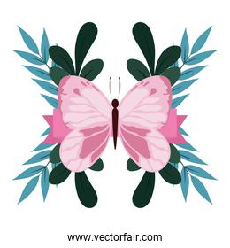 cute pink butterfly foliage leaves nature isolated design