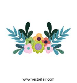 flowers leaves decoration nature isolated design