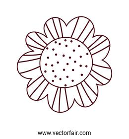 flower leaf petals nature ornament isolated icon white background line style