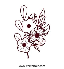 flowers petals leaves ornament decoration isolated white background line style