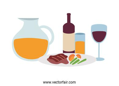 Gourmet food plate, wine glass and jug of juice on white background