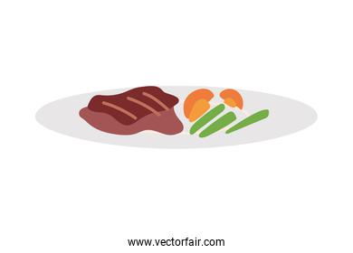 Gourmet food plate on white background
