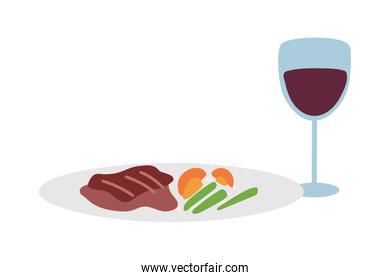 Gourmet food plate and wine glass over white