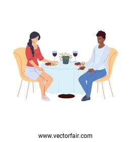 Couple in love having dinner and having a glass of wine in the restaurant