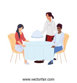 Couple in restaurant and waiter taking the order over white