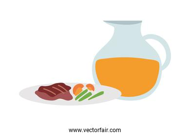 Plate of gourmet food and jug of juice on white background