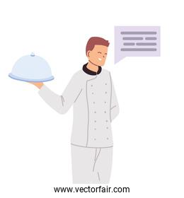 man cook with tray and message bubble