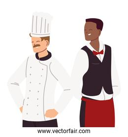 young cook and waiter in uniforms