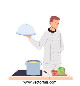 cook man with work table and food