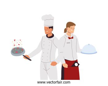 man chef cooking and waiter with tray for food