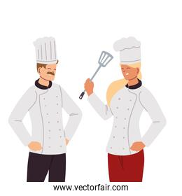chef couple with uniform and kitchen utensils