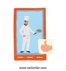 man cook with comunication for smartphone