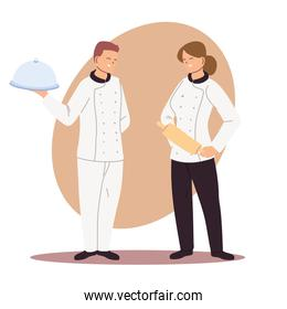 couple of professional chefs with uniform