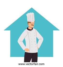 professional chef with uniform at home