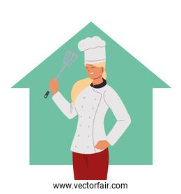 woman chef with uniform and skimme at home