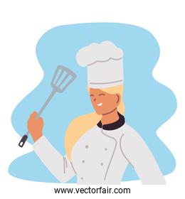 young woman chef professional with skimmer and toque