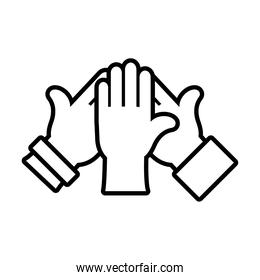 inclusion hands icon, line style