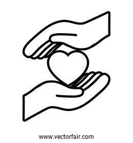 hands with heart icon, line style