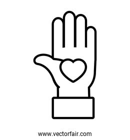 hand with heart icon, line style