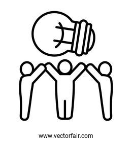 pictogram people standing with big bulb light icon, line style