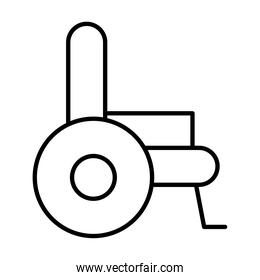 side view of wheelchair icon, line style