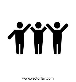 pictogram people standing icon, silhouette style