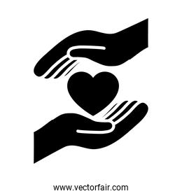 hands with heart icon, silhouette black style