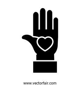 hand with heart icon, silhouette style