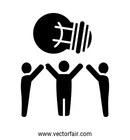 pictogram people standing with big bulb light icon, silhouette style